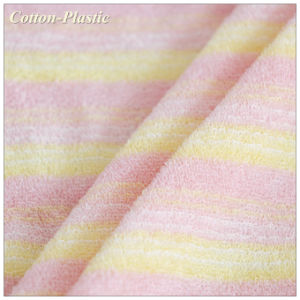 China Uneven Stripe Long Loop Terry Towel Cloth Fabric For Baby