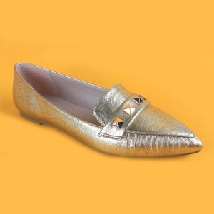 China Ladies Gold Stided Pointed Flats Shoes for Women - China Gold ... 4e37402bf