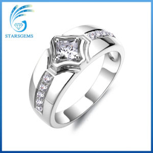 Classic Style White Cubic Zirconia Pure 925 Sterling Silver Man′s Ring Jewelry