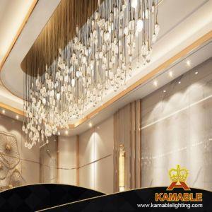 Lobby Custom Glass Pendants Modern Brass LED Strip Baguette Crystal Chandelier (KAC-05)