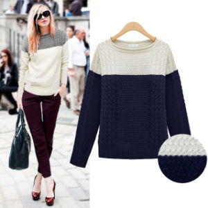 Lady Fashion Acrylic Knitted Color Blocking Pullover Sweater (YKY2009) pictures & photos