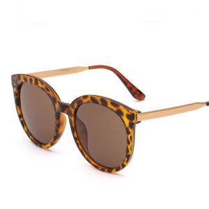 Latest Fashion Designer Plastic Women Sunglasses with Metal Temple (6803)