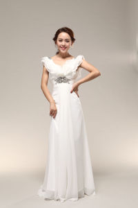 Sheath Style&Beaded V-Neckline White Wedding Dress (037)