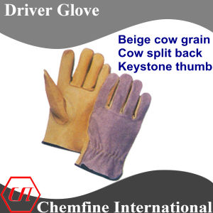Beige Cow Grain, Cow Split Back, Keystone Thumb Leather Driver Glove pictures & photos