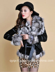 13055 New Genuine Leather Coat with Fox Fur Collar