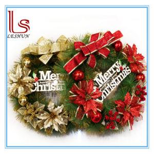 Christmas Decorations 40 Cm Golden And Red Tree Wreath Door Hang Garland