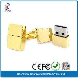 Golden Metal Cuff Link Shaped USB Flash Drive