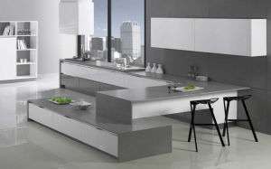 High Gloss Lacquer Kitchen Furniture with Timber Veneer Cabinets (zz-003)