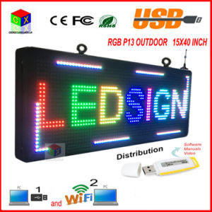 "P13 Fully Outdoor 15′′x 40"" Full Color Programmable LED Sign Text Scrolling Message Board Display for Window"