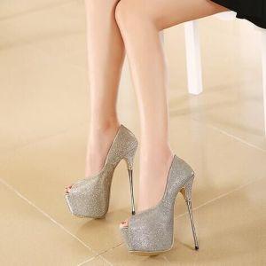 4c54856e489 China 2016 Lady Fashion Super High Heel Sandals Glitter Upper Peep ...