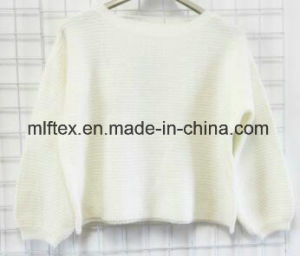 White Round Neck Sweater for Women
