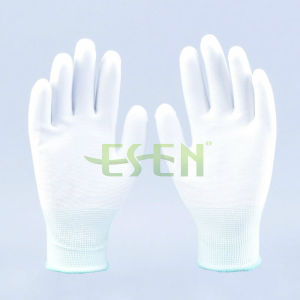 Esen White Polyester Coated PU Palm Fit Hand Work Glove