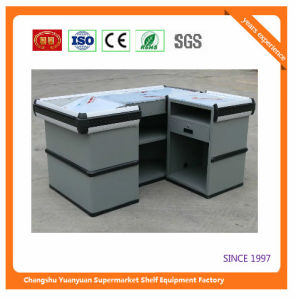 Supermarket Retail Stainless Cash Counter with Conveyor Belt 1051