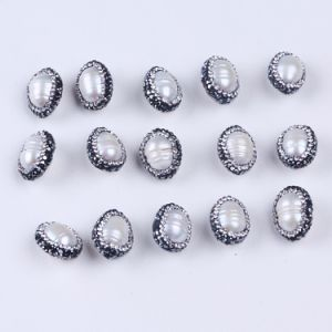 Natural Freshwater Pearl Loose Beads with Crystal Rhinestone Paved Connector pictures & photos