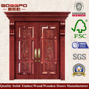 Luxury Double Leaf Villa Solid Wooden Main Entry Door (XS1-007) pictures & photos