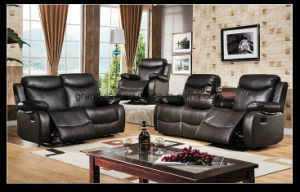 Living Room Furniture Casual Motion Recliner Promotional Sofa With Tray Table Brown