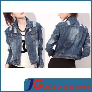 Shoulder Ripped Clothing Women Distressed Denim Jacket (JC4070) pictures & photos