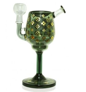 "8"" Luck of The Irish Wine Glass with Oil Dome Nail and Dry Herb Bowl - Ash Black pictures & photos"