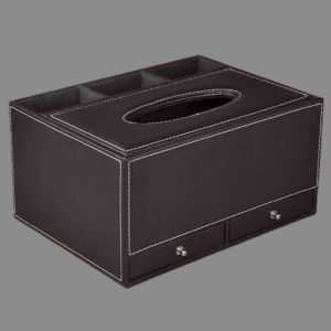 Quality Leather Tissue Paper Box Organizer with Drawer pictures & photos