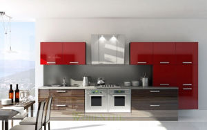High Gloss Red Lacquer Timber Veneer Kitchen Cabinets Wh D889