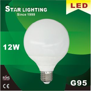 Aluminum Plastic G95 12W 95lm/W LED Global Bulb