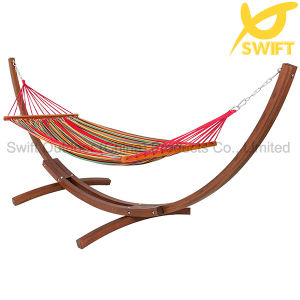 Wooden Curved Arc Hammock Stand with Cotton Hammock