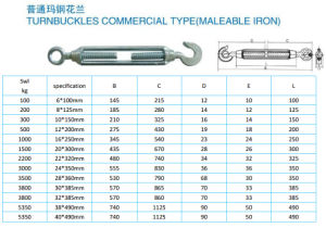 Commercial Type Malleable Iron Turnbuckle pictures & photos
