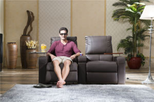 Black Color Couple Home Cinema Seating Furniture