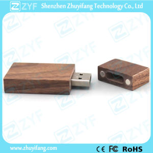 Magnetic Casing Rectangular Walnut Wood Flash Drive (ZYF1310)