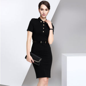 Short Sleeve Ladies Black Formal Dress pictures & photos