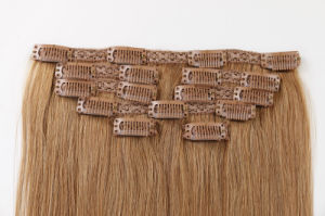 "Popular Remy Hair Extension Clip-in Hair Extensions Silky16"" Piano Color pictures & photos"