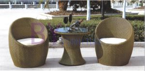 3 PCS Round Outdoor Garden PE Rattan Patio Furniture