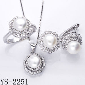Hotsale Sterling Silver Fresh Water Pearl Set Rhodium Pave CZ Set pictures & photos
