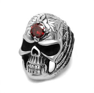 Vintage Skull Ring with Blood Zircon on Forehead Stainless Steel
