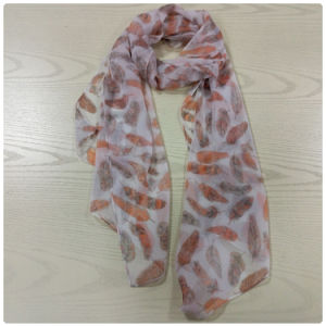 Feather Printed Polyester Chiffon Long Scarf
