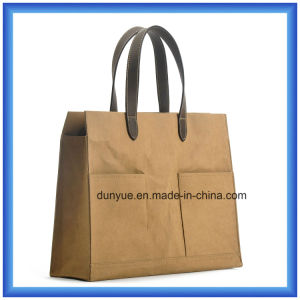 Latest Arrival New Material DuPont Paper Hand Bag, Eco-Friendly Customized Portable Tyvek Paper Shopping Tote Bag with PU Leather Handle