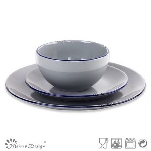 18PCS Dinner Set Solid Grey with Glaze Peel and Blue Rim pictures & photos