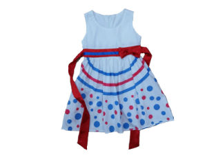 Children Clothes for Summer Girl Dress with Stripe in Printing (SQD-139)