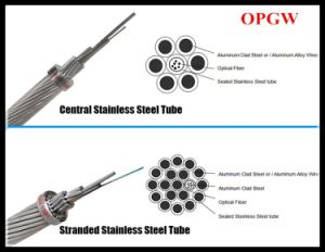 Professional Manufacturing Power Optical Fiber Cable Central Stainless Steel Tube Opgw with Single Stranded Layer