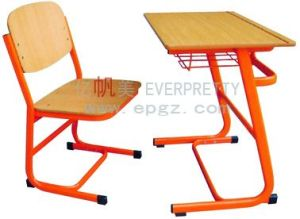 School Furniture Fixed Single Desk & Chair for High School Student pictures & photos