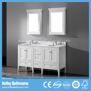 Delicate Multi Space Bathroom Sink with 2 Mirror Cabinets and Basins (BV193W)
