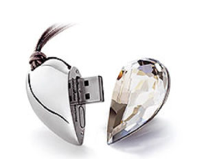 Crystal Metal Heart USB Flash Disk pictures & photos