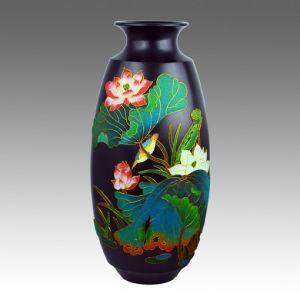 Gold Wire Colorful Black Pottery Vase Porcelain Decoration Ceramic  Decoration Flower Vase