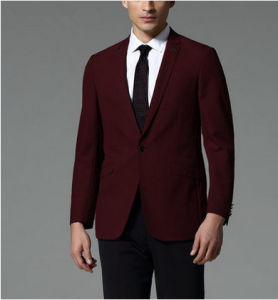 Slim Fit Men′s Red Wool Business Suit pictures & photos