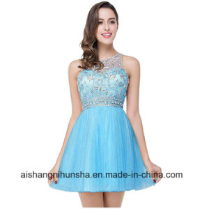 China Beaded Tulle Short Pink Blue Homecoming Dresses Sexy Prom