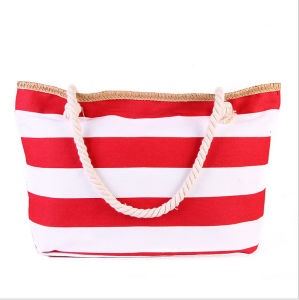The New Trend of High - Capacity Striped Canvas Bag Mummy Bag Fashion Shoulder Bag