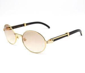 4f3f14a6a6e China Brand Classic Round Full Frame Sunglasses Vintage Black Natural Horn  7550178-55 Gold - China Brand Sunglasses