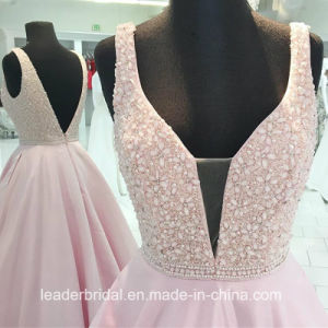 Pink Party Cocktail Gown Beading Satin Crystals Evening Dresses Y1037 pictures & photos