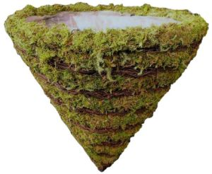 Natural Striped Moss and Twig Cone Planter Hanging Basket
