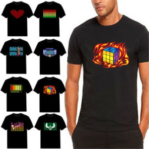 LED EL Printed Logo Flashing T-Shirts with Your Design